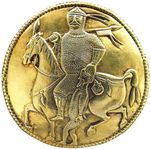 A coin that depicts what could possibly be a Khazar Warrior