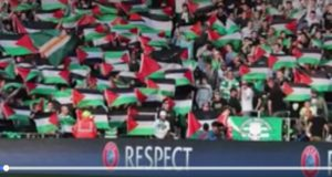 100s of Palestinian Flags waved in Celtic Park